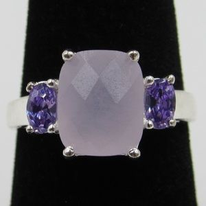 Vintage Size 7.5 Sterling Amethyst CZ Band Ring